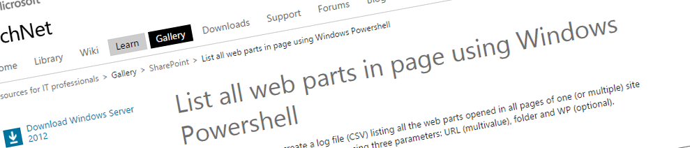 List all WebParts in page using Windows Powershell
