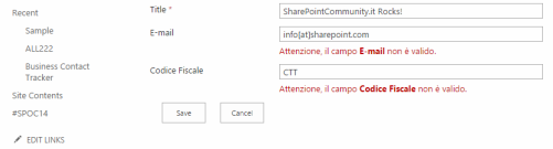 Using PreSaveItem to add custom validation to SharePoint list form